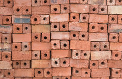Red clay bricks for construction.  Royalty Free Stock Photos