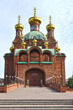 Red clay bricks orthodox church Royalty Free Stock Image