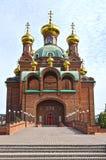 Red clay bricks orthodox church Royalty Free Stock Image
