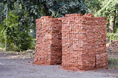 Red clay bricks stacks in Amritsar,India Royalty Free Stock Photography