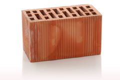 Red clay bricks on white background Royalty Free Stock Photography