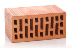 Red clay bricks on white background Royalty Free Stock Photos