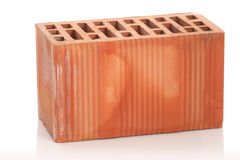 Red clay bricks on white background Royalty Free Stock Images