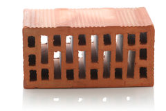 Red clay bricks on white background Stock Photos