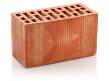 Red clay bricks on white background Stock Images