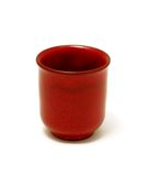 Red clay cup isolated on white Royalty Free Stock Photography