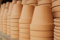 Red clay pots. Many red clay pots stacked and ready for sale Stock Photography