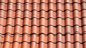 Red clay roof tiles Stock Photo