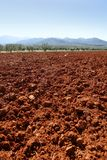 Red clay soil texture on a sunny morning Stock Images
