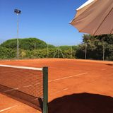 Red clay tennis court Stock Photography