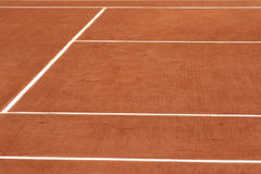 Red clay tennis court. Ready for game Stock Photo