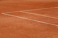 Red clay tennis court. Ready for game Stock Image