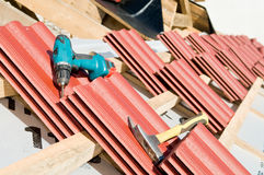 Red Clay tile roof and equipment Royalty Free Stock Photos