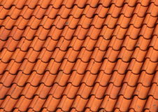 Red Clay Tile Roof on Old Farm House Background Stock Photos