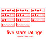 Red clean rubber stamp five stars ratings Stock Photo