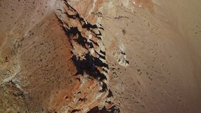 Red Sandstone Rock Formation in Mojave Desert California Aerial Shot Rotate Right Bird`s Eye View