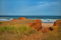 Red cliff in Magdalen islands Royalty Free Stock Photography