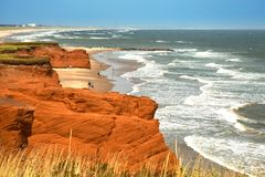 Free Red Cliff In Magdalen Islands Stock Photo - 100160740