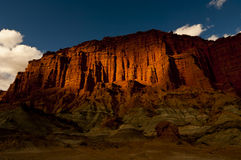 Red cliff wall at Ischigualasto National Park. Red cliff wall at at sunset at Ischigualasto National Park; Argentina Stock Images
