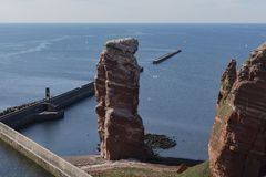 The red cliffs on island Helgoland Germany royalty free stock photo