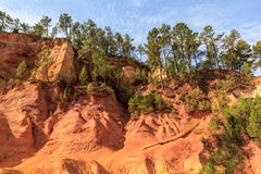 Red Cliffs in Roussillon (Les Ocres) Royalty Free Stock Image