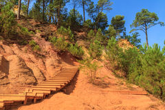 Red Cliffs in Roussillon (Les Ocres) Stock Photography