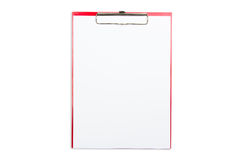 Red Clip Board with white paper Stock Photography