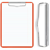 Red clipboard and paper sheet stock illustration