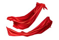 Red cloaks with hoods set. Silk flattering capes. Red cloaks superhero costume with hoods set. Silk flattering capes side view on different positions isolated on vector illustration