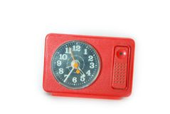 Red clock. Old red clock of times of my youth Royalty Free Stock Photography