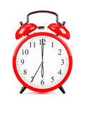 Red clock. 3d render of red clock on white background Royalty Free Stock Images