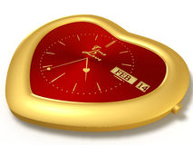 Red clock. Golden watch in the shape of a heart with a calendar on a red clock face Royalty Free Stock Photo