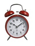 Red clock. Close up of red clock on white background with clipping parh Royalty Free Stock Photo