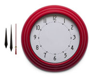 Red Clock. Adjustable Custom Clock Face Isolated on White Background Royalty Free Stock Photos
