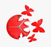 Red clock with arrows Stock Photo