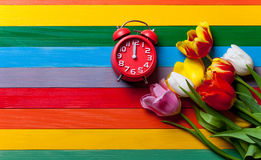 Red clock and bunch of tulips lyig on the table Royalty Free Stock Photography