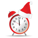 Red clock with christmas hat vector vector illustration