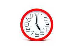 red  clock isolated on white background. Stock Images