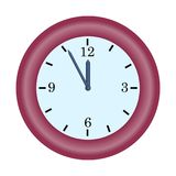 Red clock minute hand on five to twelve hour simple vector icon. Illustration concept of last chance or deadline vector illustration