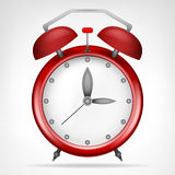 Red clock with running time object Stock Image