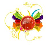 Red clock on the stars Royalty Free Stock Image