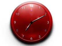 Red clock on a white background Royalty Free Stock Photos
