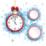 Red Clock White Circles Red Ribbon Blue Snowlakes. White paper circles with clock and red ribbon, blue snowflakes on the white background royalty free illustration