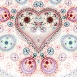 Red clockwork fractal heart. Digital artwork for creative graphic design royalty free illustration