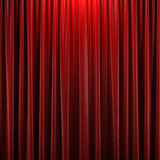 Red closed curtain. With light spots in a theater Royalty Free Stock Photography