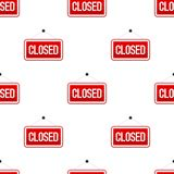 Red Closed Flat Sign Seamless Pattern Royalty Free Stock Photos