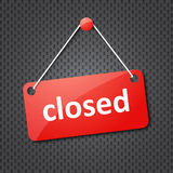 Red closed hanging sign Stock Photos