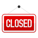 Red Closed Sign Flat Icon Isolated on White Stock Images