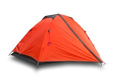 Red closed tourist a tent royalty free stock photography