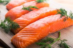 Fresh Wild Salmon Steak & Raw Fish Fillet, Healthy. Red closeup market fresh orange healthy natural Stock Images